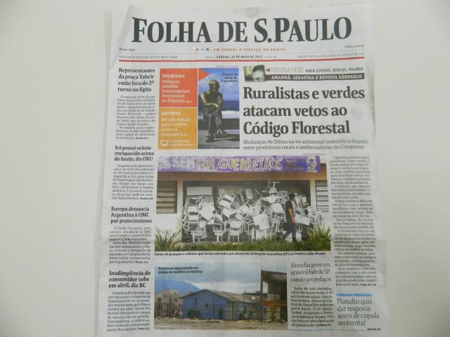 Greve e ocupação na capa da Folha de São Paulo